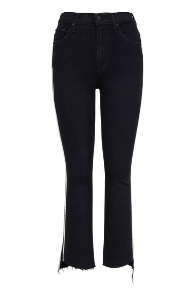 Mother Denim - The Insider Black Step Fray Cropped Jean