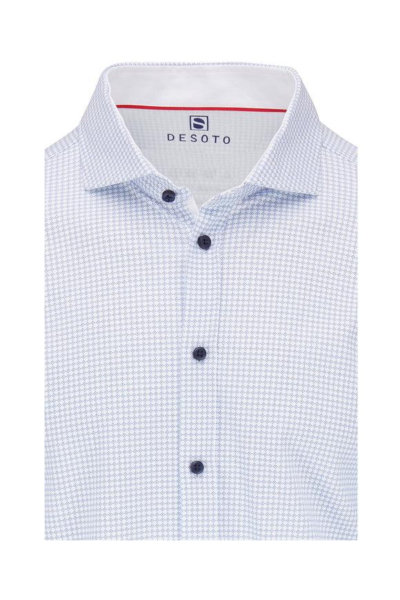 Desoto Navy & White Geometric Print Knit Shirt