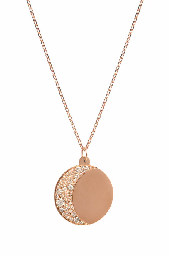 Genevieve Lau Rose Gold Diamond XL Moon Necklace