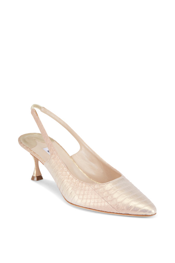 Manolo Blahnik Betty Light Gold Snake Print Pump, 50MM