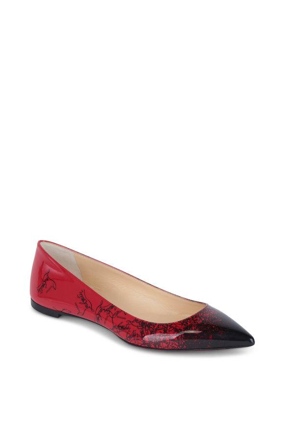 Christian Louboutin Degraloubi Black & Red Patent Pointed Flat