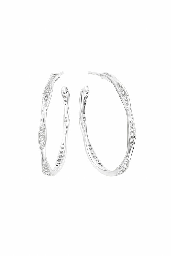 Maria Canale White Gold Wave Diamond Hoop Earrings