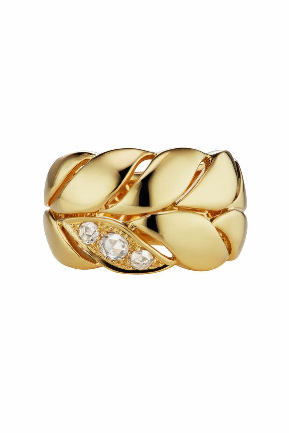 Maria Canale Yellow Gold Petal Diamond Band