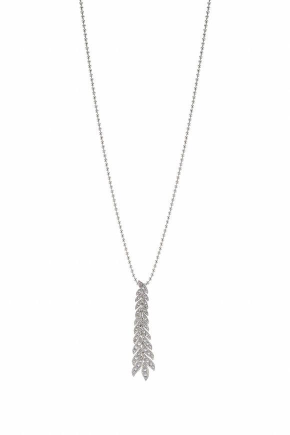 Maria Canale White Gold Petal Long Diamond Pendant Necklace