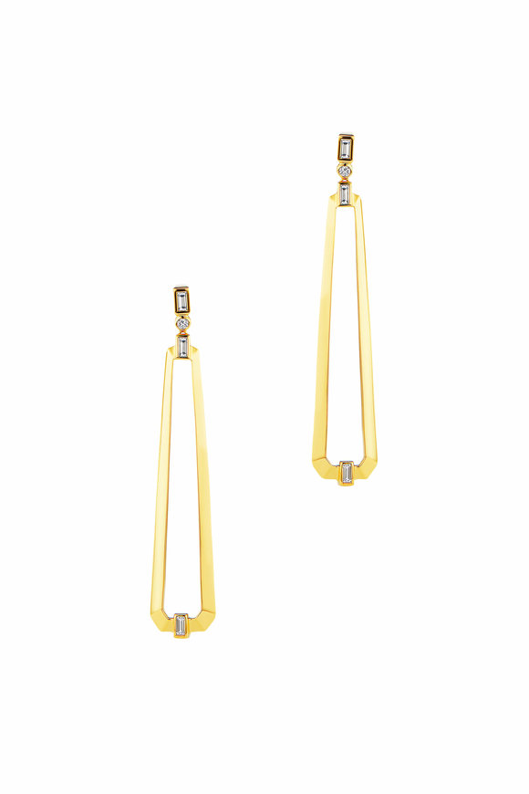 Maria Canale Yellow Gold Trapezoid Drop Earrings