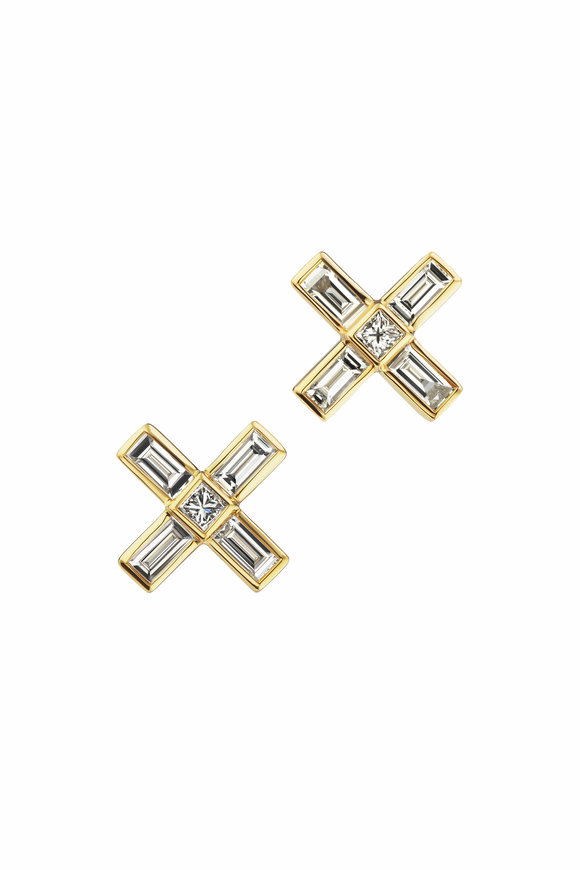 Maria Canale Yellow Gold X Diamond Button Earrings