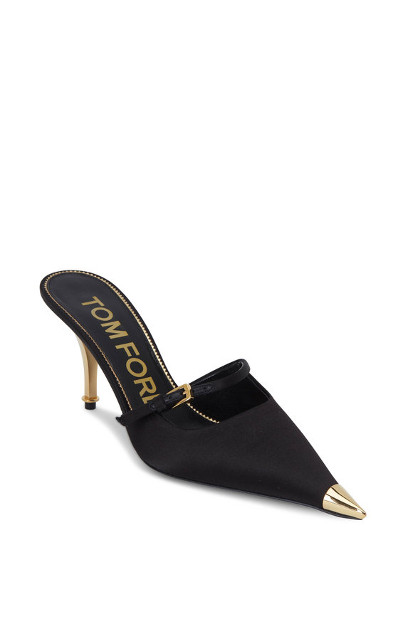Tom Ford Black Satin Mary Jane Mule, 75mm