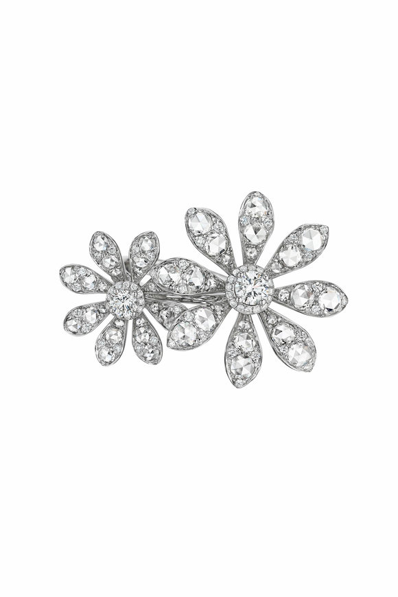 Maria Canale 18K White Gold Two Flower Diamond Ring