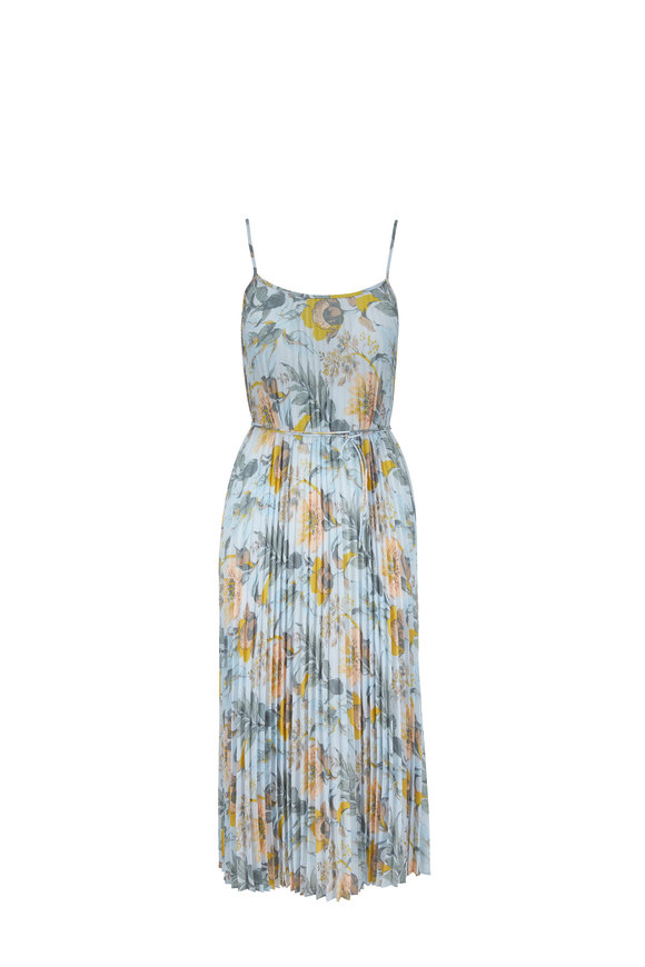 Vince Marine Garden Plissé Sleeveless Dress