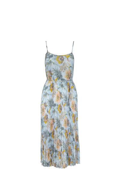 Vince - Marine Garden Plissé Sleeveless Dress