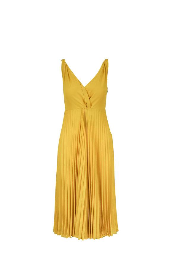 Vince Limonata Plissé Twist-Front Sleeveless Dress