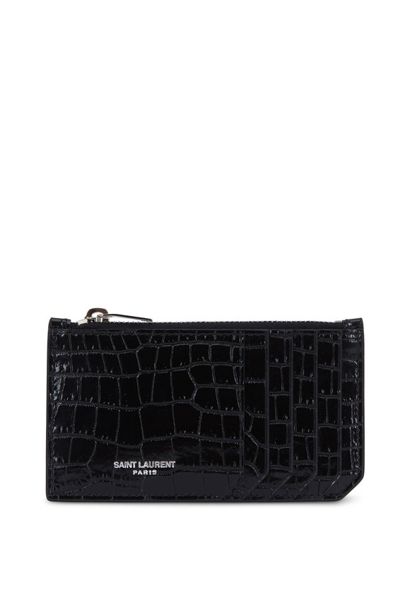 Saint Laurent Black Crocodile Embossed Leather Card Case