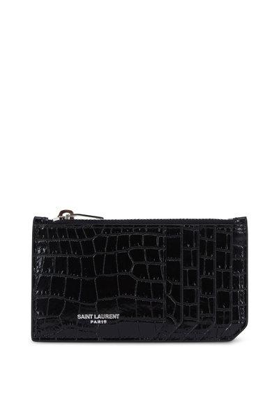 Saint Laurent - Black Crocodile Embossed Leather Card Case
