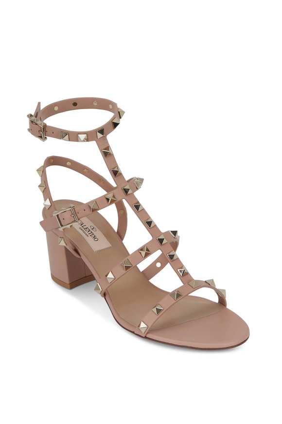 Valentino Garavani Rockstud Rose Leather T-Strap Sandal, 60mm