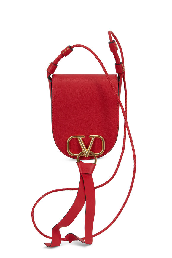 Valentino Garavani VRing Red Leather Small Saddle Bag