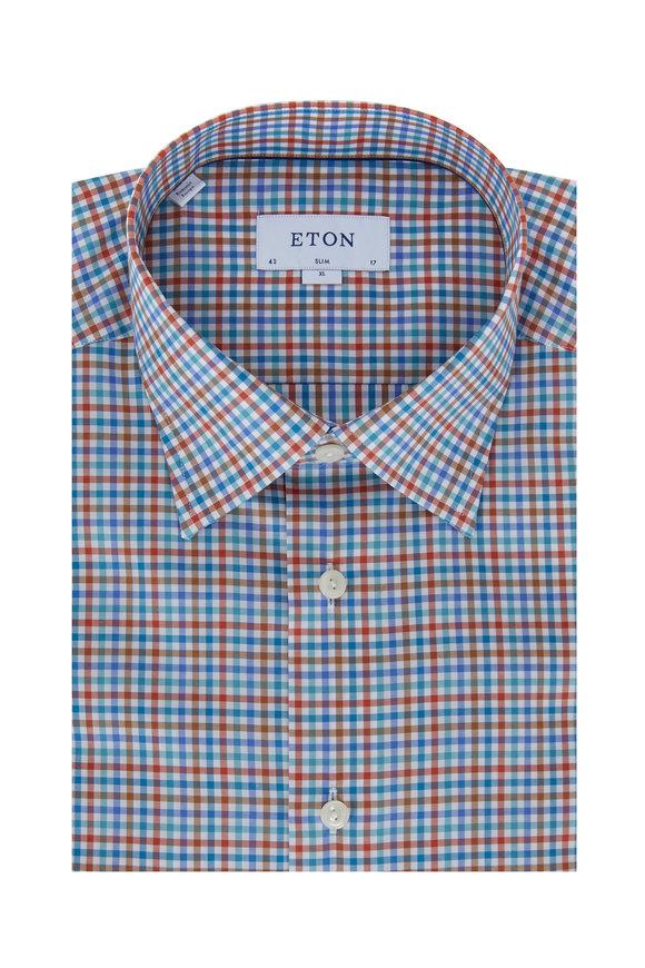 Eton Blue & Brown Check Slim Fit Sport Shirt