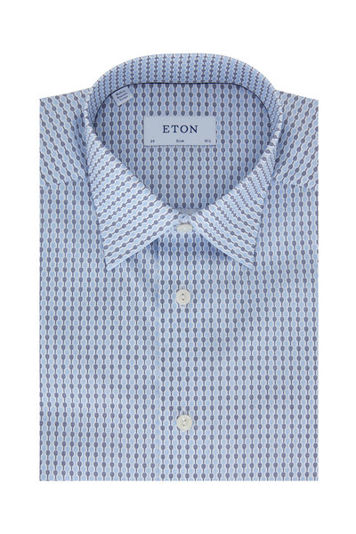 Eton - Blue Tennis Racket Slim Fit Dress Shirt