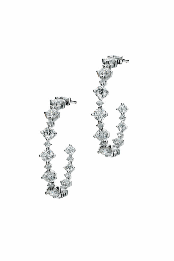 Maria Canale 18K White Gold Diamond Hoop Earrings