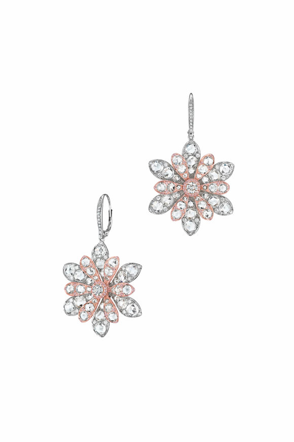 Maria Canale Two Tone Gold & Silver Aster Flower Earrings
