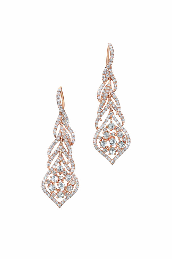 Maria Canale Yellow Gold Aster Peacock Diamond Earrings