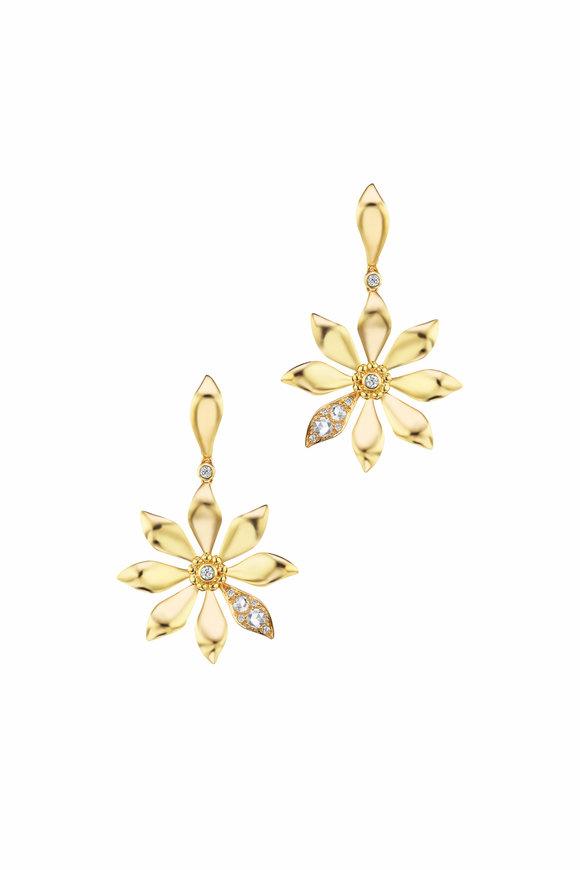 Maria Canale Yellow Gold Aster Single Diamond Petal Earrings
