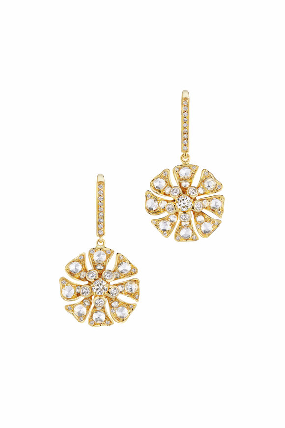 Maria Canale Yellow Gold Aster Diamond Earrings
