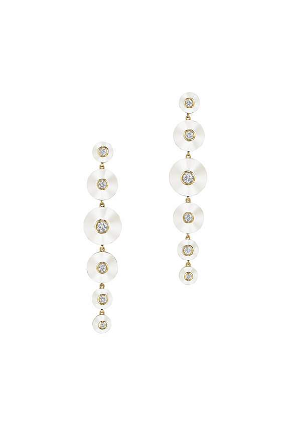 Maria Canale Pyramide White Agate Long Drop Earrings
