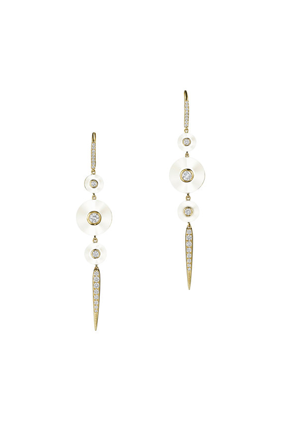 Maria Canale Pyramide White Agate Drop Pointe Earrings