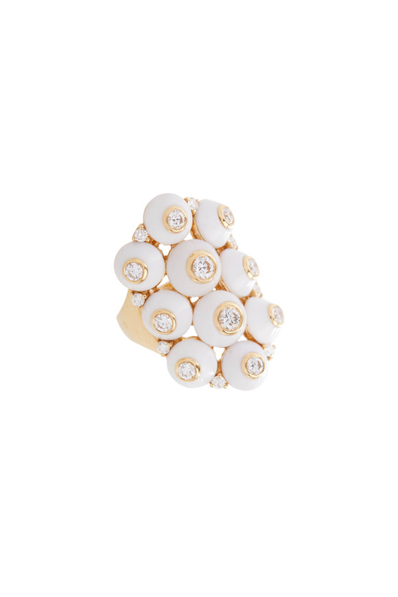 Maria Canale White Agate & Diamond Cocktail Ring