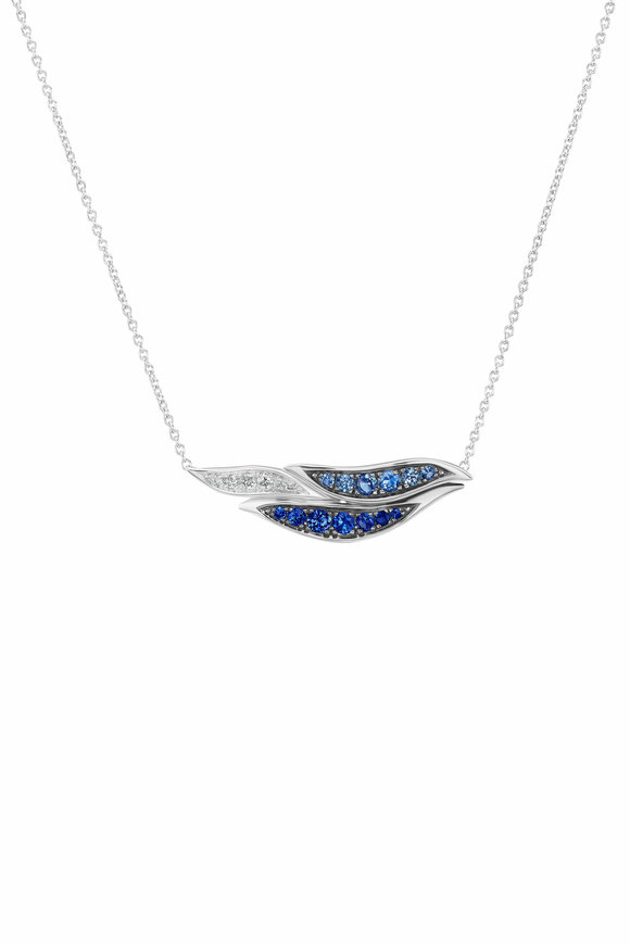 Maria Canale 18K White Gold Wave Horizontal Pendant Necklace