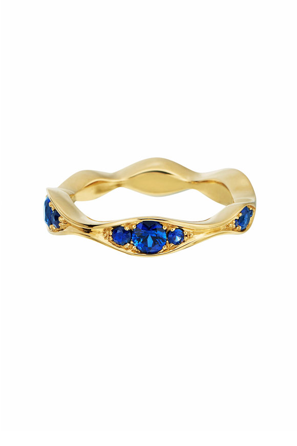 Maria Canale Yellow Gold Wave Blue Sapphire Eternity Band