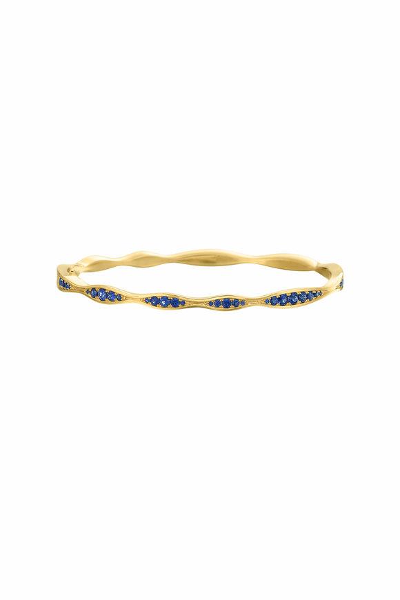 Maria Canale 18K Yellow Gold Wave Half-Way Sapphire Bangle