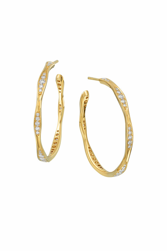 Maria Canale Yellow Gold Wave Hoop Earrings