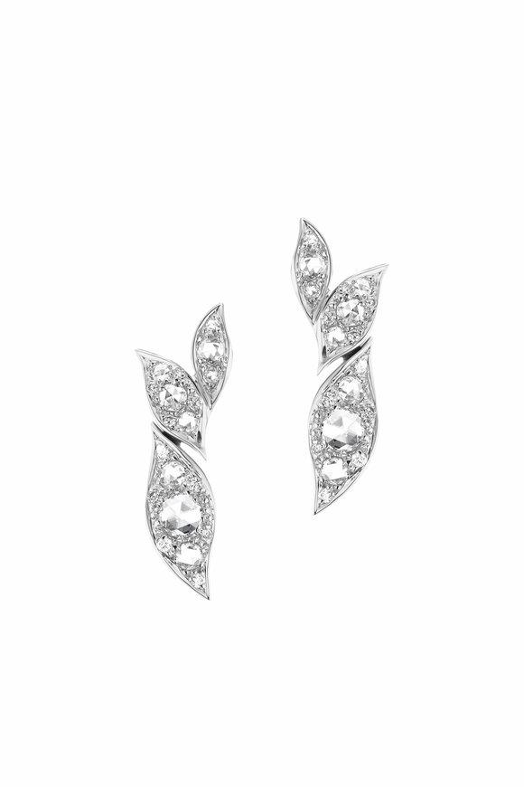 Maria Canale White Gold Petal Diamond Earrings