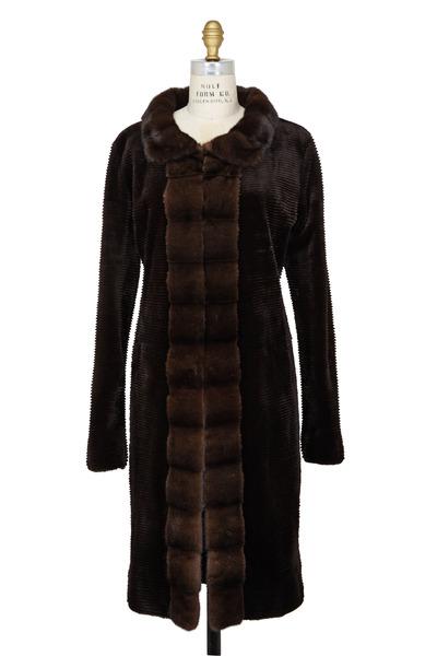 Oscar de la Renta Furs - Espresso Mink & Taffeta Rainproof Reversible Coat