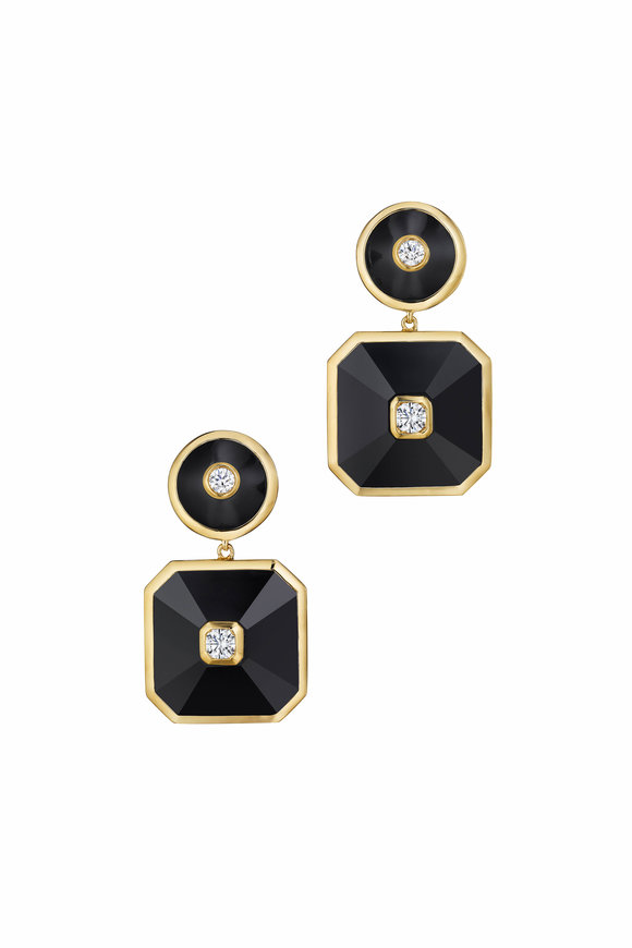 Maria Canale 18K Yellow Gold Pyramid Double Drop Earrings