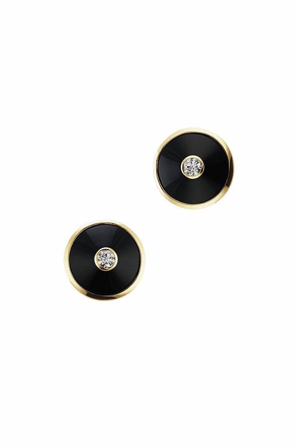 Maria Canale 18K Gold Pyramide Black Onyx Disc Earrings