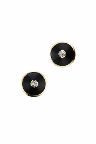 Maria Canale - 18K Gold Pyramide Black Onyx Disc Earrings