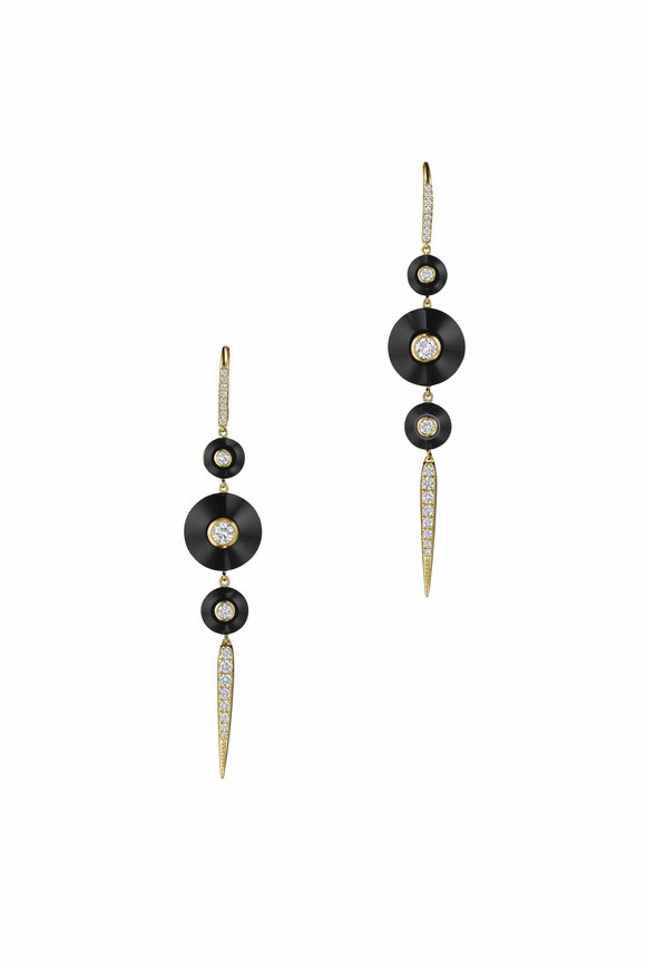 Maria Canale 18K Yellow Gold Pyramide Drop Pointe Earrings