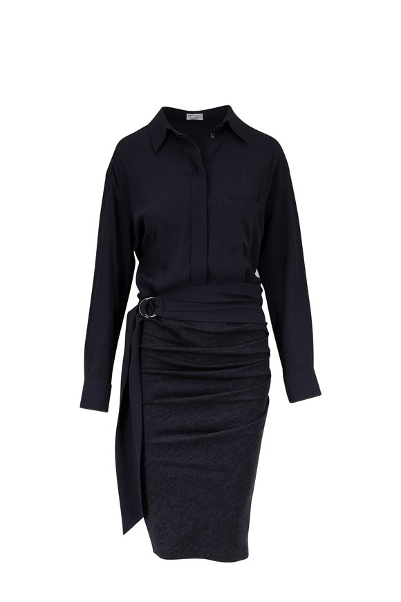 Brunello Cucinelli Anthracite Mixed Media Long Sleeve Belted Dress