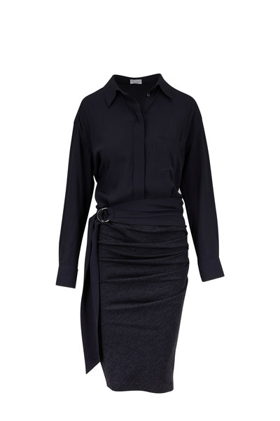Brunello Cucinelli - Anthracite Mixed Media Long Sleeve Belted Dress