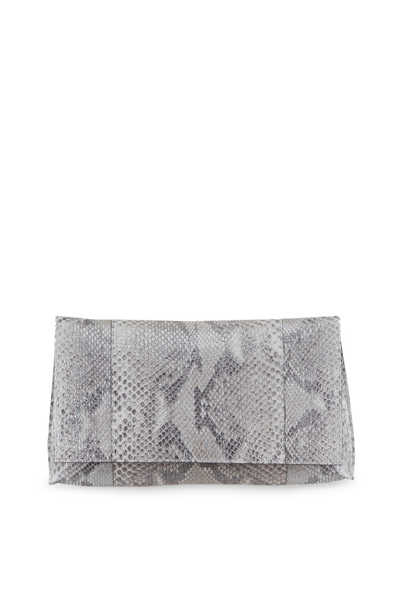 B May Bags Metallic Silver Python Foldover Clutch