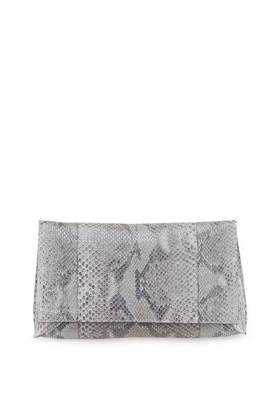 B May Bags - Metallic Silver Python Foldover Clutch
