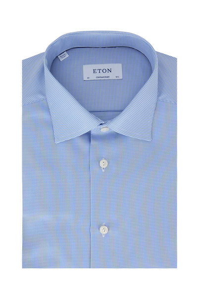 Eton - Blue Houndstooth Contemporary Fit Dress Shirt