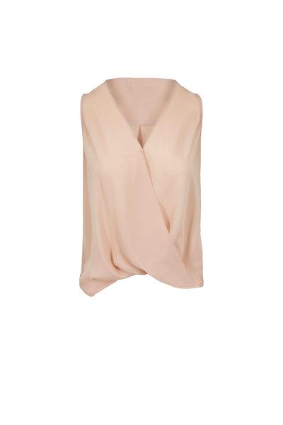 L'Agence - Mila Petal Silk Draped Sleeveless Blouse