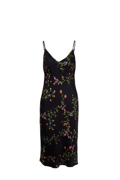 L'Agence - Jodie Black Floral Silk V-Neck Slip Dress
