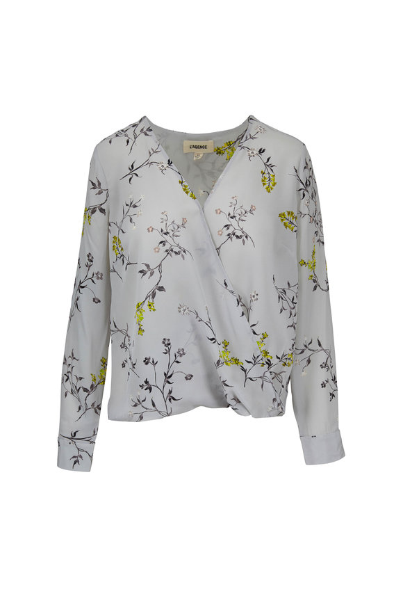 L'Agence Kyla Gray Floral Silk Draped Blouse