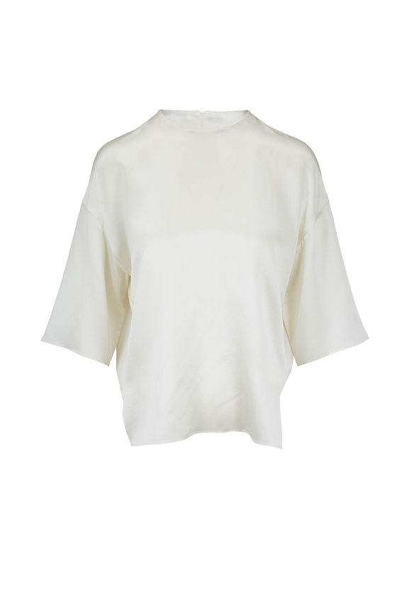Vince Pearl Birch Satin Short Sleeve Boxy Top