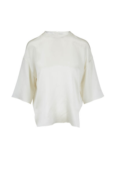Vince - Pearl Birch Satin Short Sleeve Boxy Top