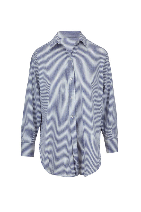 Vince Space Dyed Indigo Striped Blouse